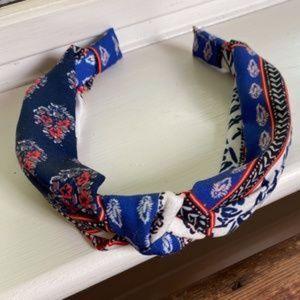 Anthropologie Twist Floral Satin Headband